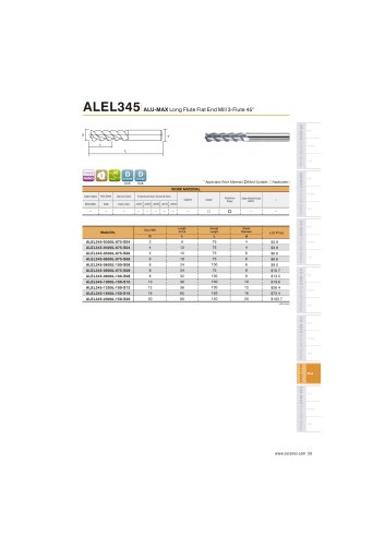 ALEL345 Carbide flat mill 3F long length for Aluminum helix45