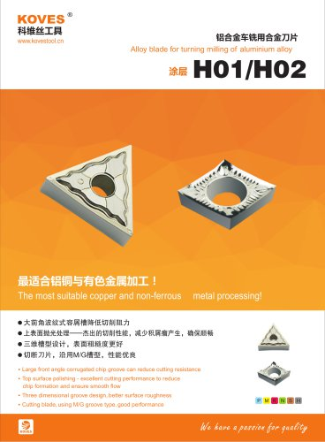 Carbide inserts H01 H02 grade for Aluminum