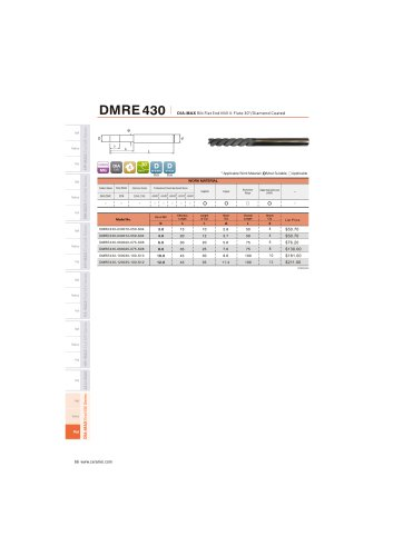 DMRE430 Carbide flat mill 4F for Graphite helix30