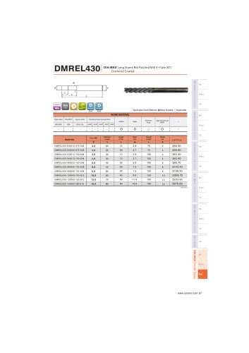 DMREL430 Carbide flat mill 4F long length for Graphite helix30