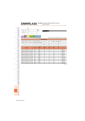 DMRRL430 Carbide radius mill 4F long length for Graphite helix30