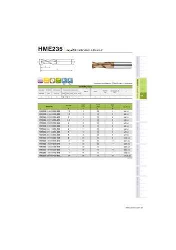 HME235 Carbide flat mill 2F for steel and stainless steel helix35