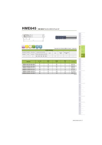 HME645 Carbide flat mill 6F for steel and stainless steel helix45