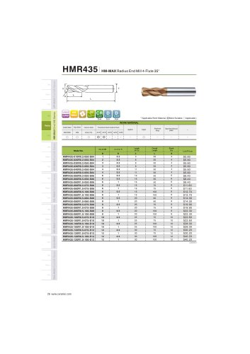 HMR435 Carbide radius mill 4F for steel and stainless steel helix35