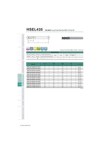 HSEL435 Carbide flat mill 4F long length for stainless steel helix35