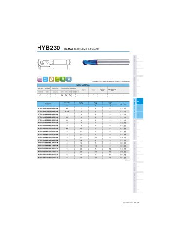 HYB230 carbide ball mill 2F for hardened steel 48-65HRC helix30