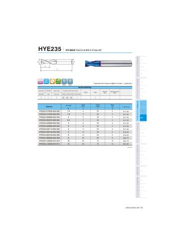 HYE235 carbide flat mill 2F for hardened steel 48-65HRC helix30