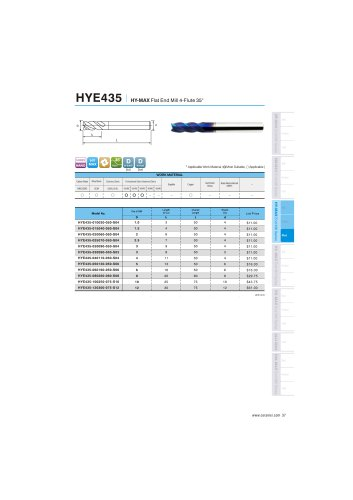 HYE435 carbide flat mill 4F for hardened steel 48-65HRC helix30