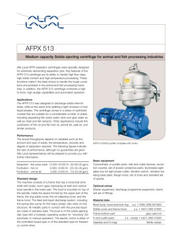 AFPX513 Medium capacity Solids-ejecting centrifuge for animal and fish processing industries