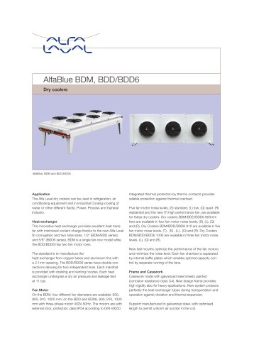 AlfaBlue - BDM-BDD-BDD6 - Dry coolers