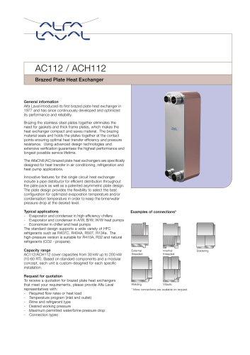 Brazed Plate Heat Exchanger AC112 / ACH112