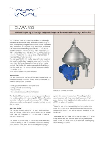 CLARA - CLARA 500 - Medium-capacity solids-ejecting centrifuge for the wine and beverage industries
