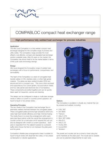 Compabloc - welded heat exchanger range