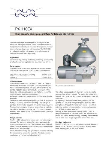 PX 110EX Disc stack centrifuge