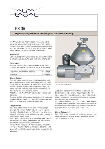 PX 95 Disc stack centrifuge