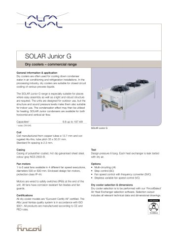 Solar Junior G - Dry coolers – commercial range