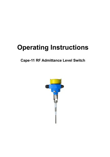 Jiwei/Cape-11 RF Admittance Level Switch/Operating Instructions