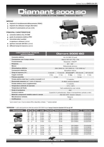 Valvole in ottone passaggio ridotto attacco ISO DIAMANT 2000