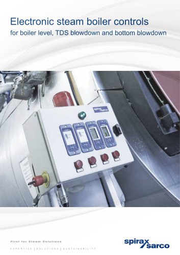 Electronic steam boiler controls for boiler level, TDS blowdown and bottom blowdown