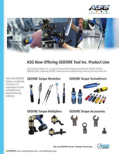 ASG Now Offering GEDORE Tool Inc. Product Line