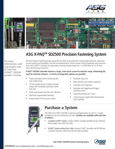 ASG X-PAQTM SD2500 Precision Fastening System