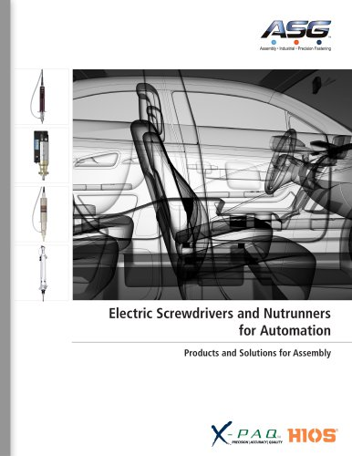 Electric Screwdrivers and Nutrunners for Automation