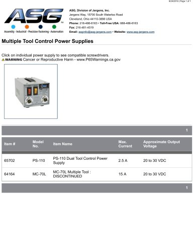 Multiple Tool Control Power Supplies