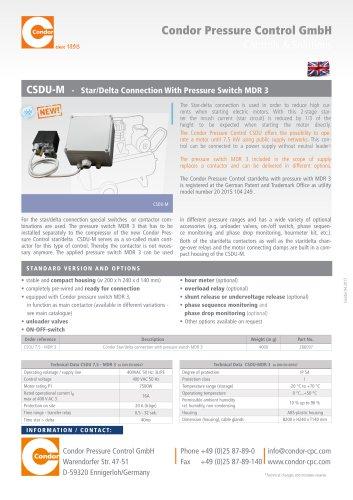 CSDU-M  Condor Star/Delta Connection With Pressure Switch