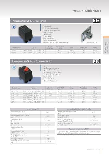Pressure switch MDR 1