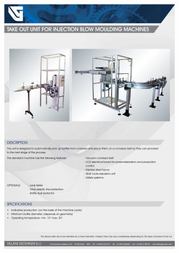 TAKE OUT UNIT FOR INJECTION BLOW MOULDING MACHINES