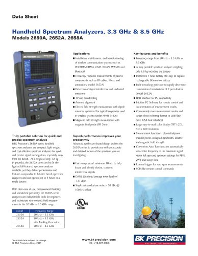 2650A Series Handheld Spectrum Analyzers