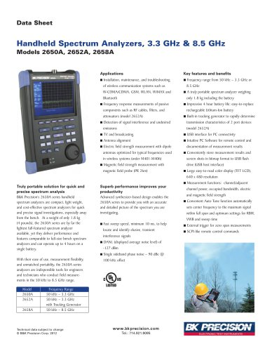 Handheld Spectrum Analyzers, 3.3 GHz & 8.5 GHz Models 2650A, 2652A, 2658A