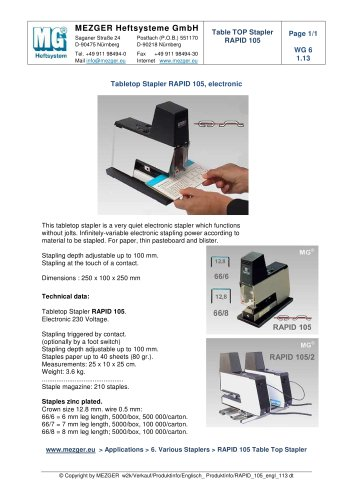 Tabletop Stapler RAPID 105, electronic