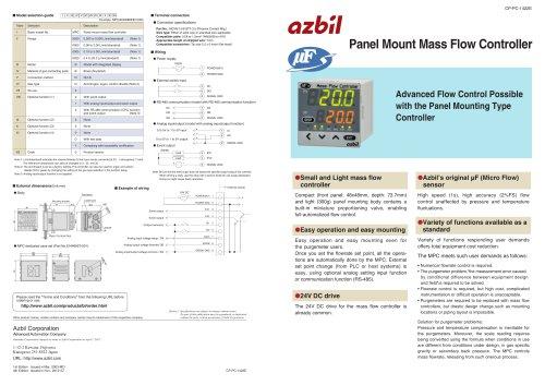 Panel Mount Mass Flow Controller MPC