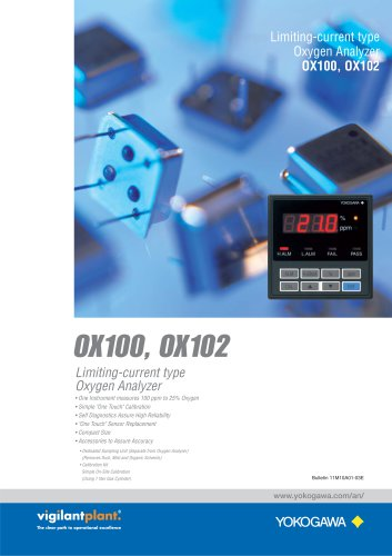 OX100, OX102 Current Limit Type Oxygen Analyzers