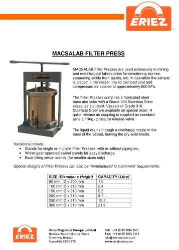 MACSALAB Filter Presses