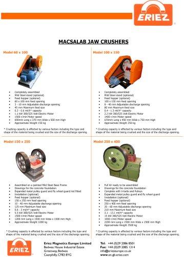 MACSALAB Jaw Crushers