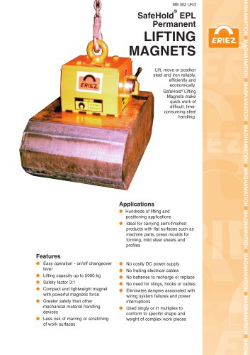 SAFEHOLD PERMANENT LIFTING MAGNET