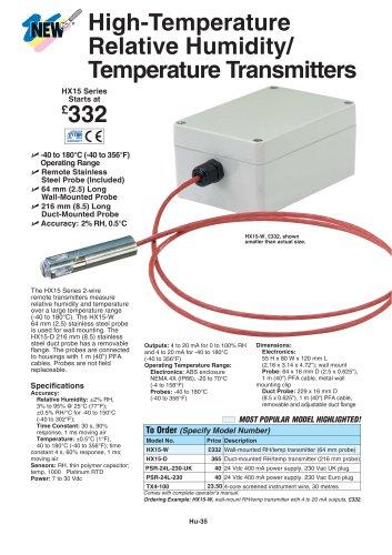 High Temperature Relative Humidity/Temperature Transmitter, with Remote Probe  HX15 Series