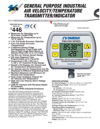 Industrial Air Velocity and Temperature Transmitter with Display