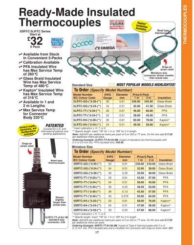 Insulated Wire Thermocouples   5LSC, 5SRTC, and 5SC Series