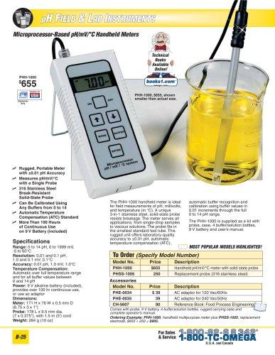 Microprocessor-based pH/mV/C Handheld Meters