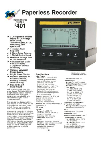 Paperless Recorder  RD8250 Series