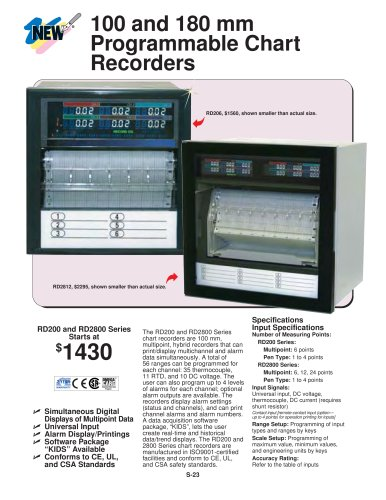 Programmable Chart Recorders   RD200 and RD2800 Series