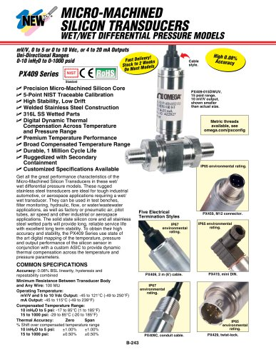 PX409 Series Wet/Wet Differential PressureTransducers
