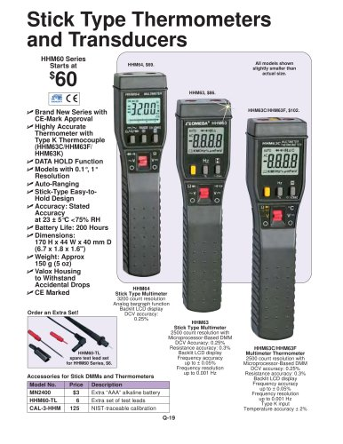 Stick Type Thermometers and Transducers