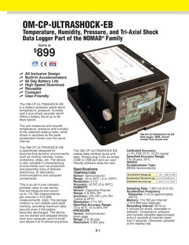 Temperature, Humidity, Pressure and Tri-Axial Shock Data Logger OM-CP-ULTRASHOCK-EB