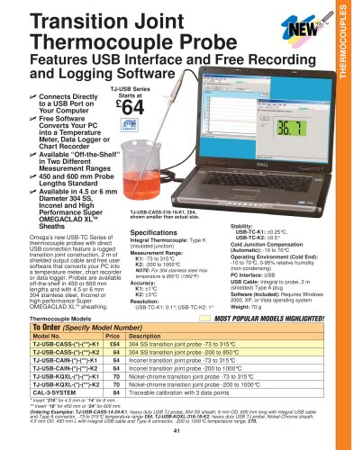 Thermocouple Probe with USB Interface and Free Recording and Logging Software