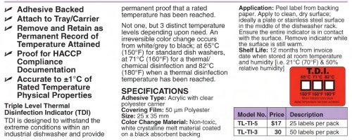TL-TI Non-Reversible Temperature Labels