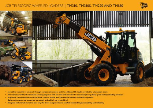JCB TELESCOPIC WHEELED LOADERS | TM310, TM310S, TM220 AND TM180